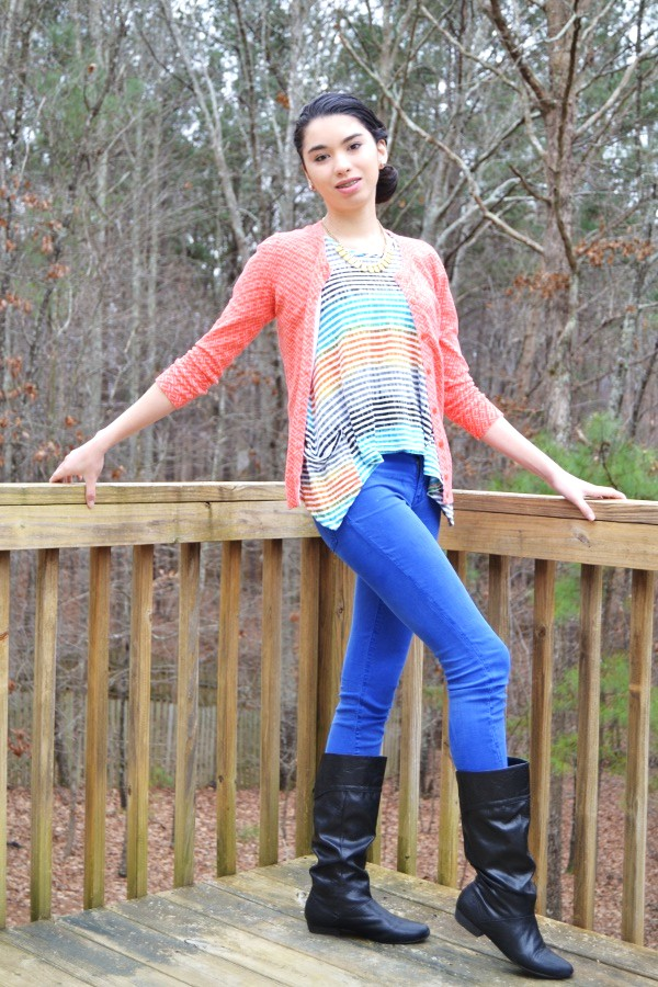 teen colorful winter outfit teen fashion blog